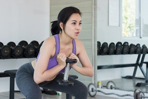 Beauty fitness woman doing exercises