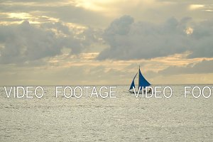 Sailing boat in blue sea. Boracay
