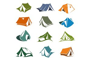 Hiking and camping tents icons
