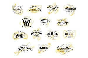 Pasta vector lettering icons, vector