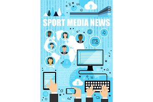 Sport media news outline icons
