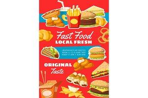 Fast food menu snacks vector