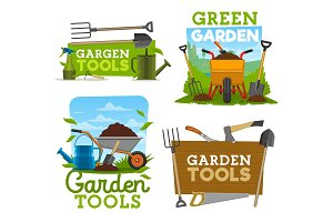 Garden tools icons and symbols