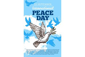 Peace international day, white dove