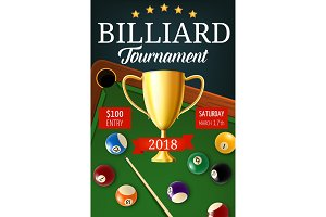 Billiard tournament, gold trophy cup