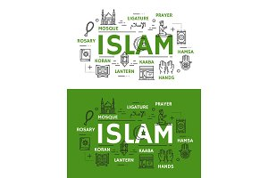 Islam religion icons and symbols