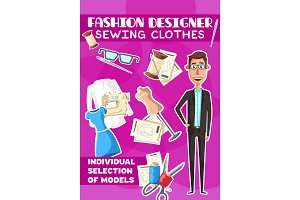 Fashion designer and sewing clothes