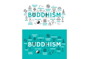 Buddhism religion and items icons