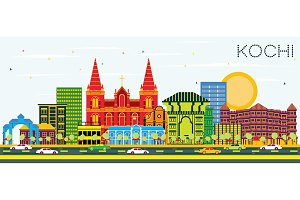 Kochi India City Skyline with Color
