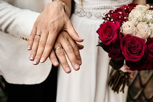 Bride And Groom Showing Rings