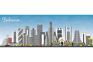 Bahrain City Skyline with Gray