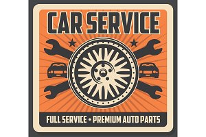 Car service, tire and wrenches