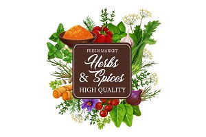 Herbs and spices, condiment
