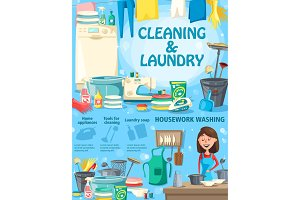 Housework washing, cleaning, laundry