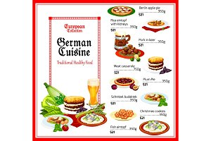 German cuisine food menu
