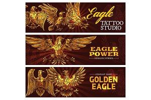 Golden heraldic eagles, power