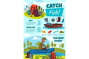 Fishing sport, fisherman, equipment
