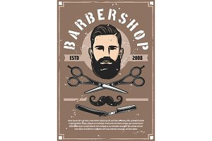 Barber shop service, bearded man