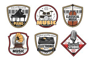 Electronic, retro and music icons