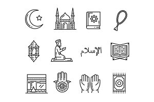 Muslim religion holy culture icons