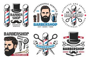 Barber shop signs and cutting tools