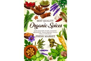 Organic herbs and spices seasonings