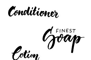 Typographic Skin Care Letterings Set