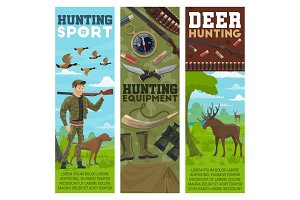 Hunting sport, hunter and animals
