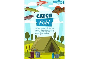 Fishing and camping, tent and fishes