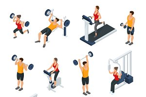 Isometric People In Gym Collection
