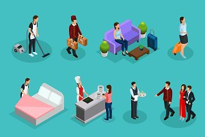 Isometric Hotel Services Set
