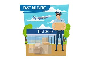 Post office and delivery, mailman
