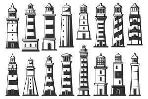 Lighthouse, marine beacons icons