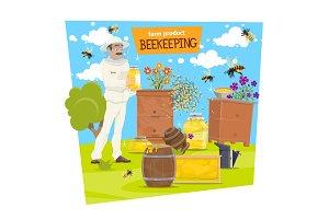 Beekeeping farm, beekeeper, honey