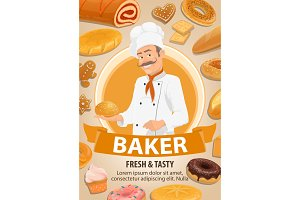 Baker, bread and cakes vector