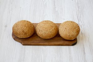Fresh burger buns with sesame seeds