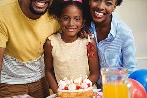 Portrait of family celebrating