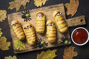 Halloween food. Scary sausage
