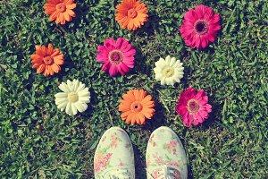 Retro Style Floral Shoes Photograph