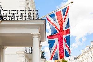 UK, Union Jack British flag waving i
