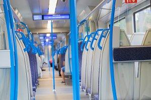 Electric train blue sits interior ex