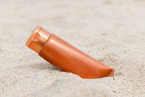 Sunscreen sunblock spf cream on the