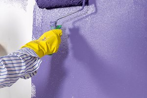 woman paints white wall and purple p