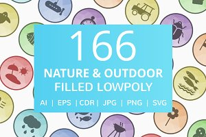 166 Nature & Outdoor Low Poly Icons