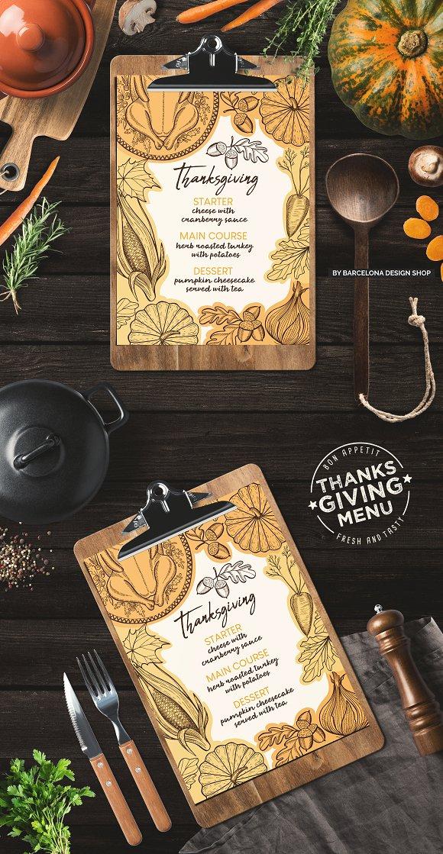 thanksgiving food menu brochure templates creative market