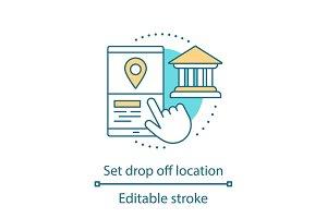 Setting drop off location icon