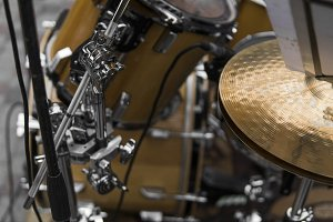 Close up on a detail of a drum kit.