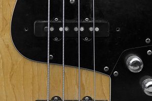 Close up of electrical bass guitar