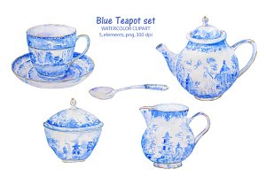 Watercolor clipart blue teapot cup