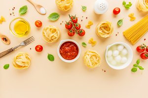 Food Background with Ingredients for